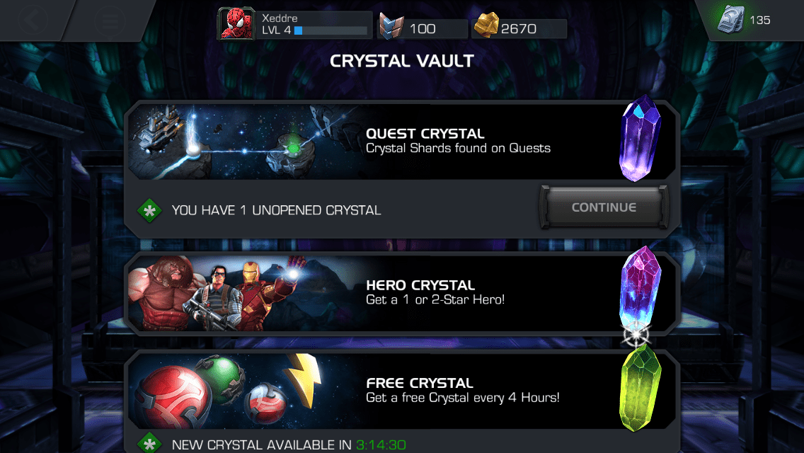 Kabam Marvel: Contest of Champions Crystal Vault mobile game
