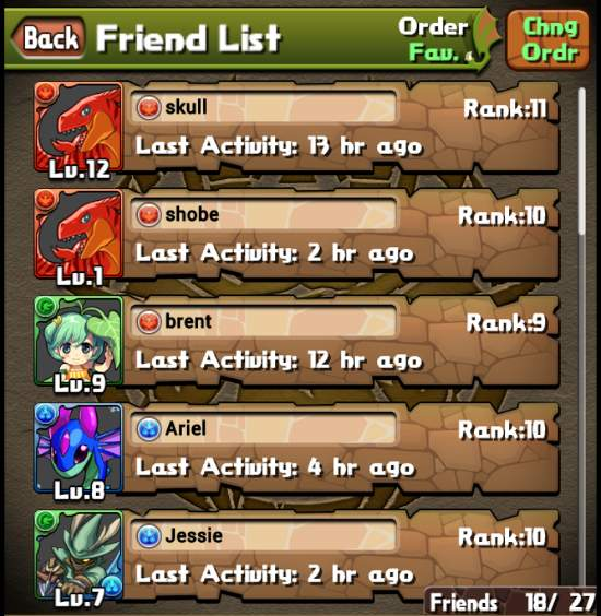 Puzzle and Dragons mobile game friend list friending
